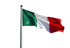 Italian flag in wind on a white background Stock Images