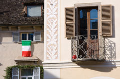 Italian flag on window stock photography