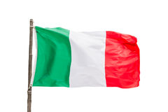 Italian flag on a wooden pole isolated on white background, Italy. Symbol royalty free stock image