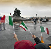 Italian flags in front the monument to Garibaldi Royalty Free Stock Images