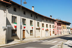 Italian Flags on Rural Buildings Royalty Free Stock Photography