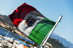Italian flags on the ship Royalty Free Stock Photo