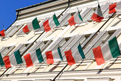Italian flags in Turin, Aosta Valley Royalty Free Stock Image