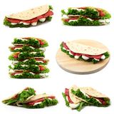 Italian flat bread collage. Italian flat bread with salade and ham collage Stock Image