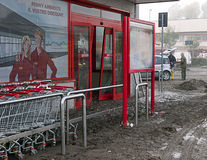 Italian floods aftermath and cleanup, supermarket Stock Images