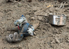 Italian floods aftermath poignant toy detail Royalty Free Stock Photo