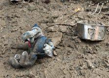 Italian floods aftermath poignant toy detail Royalty Free Stock Photo