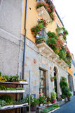Italian flowered balconies Stock Photos