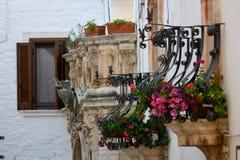 Italian flowered balconies Stock Photography
