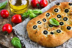 Italian focaccia bread with black olives Stock Photo