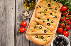 Italian focaccia bread with olives and rosemary Stock Photo