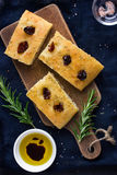 Italian focaccia bread with sun dried tomatoes Royalty Free Stock Photos
