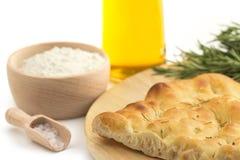 Italian focaccia and recipe ingredients Stock Photos