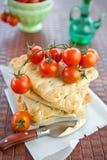 Italian focaccia and  tomatoes Stock Photos