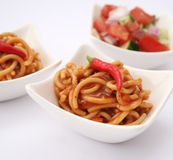Italian food. A fresh meal of italian noodles with a sauce of tomatoes Stock Photography