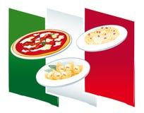 Italian food. Three typical italian dishes, Tortellini (Bologna), Carbonara (Rome) and Pizza (Napoli), on a stylized flag Stock Photo