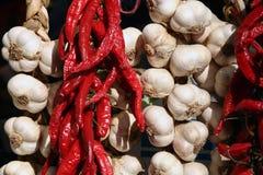 Italian food. Chili and garlic along the sreet of amalfi Royalty Free Stock Photo
