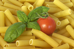 Italian food. Photo of a fresh italian food ingredients with pasta tomato and basil Stock Photography