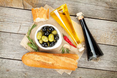 Italian food appetizer of olives, bread and spices Royalty Free Stock Photos