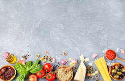 Italian food background Copy space Top view Royalty Free Stock Photo