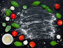 Italian food background ingredients: cherry tomatoes, basil, moz. Zarella, parmesan empty space for text top view Stock Images