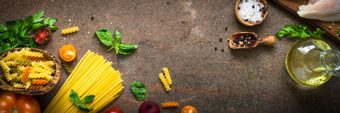 Italian food background. Pasta and meat. Long banner format Stock Image