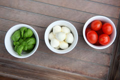 Italian Food. Basil, Mozzarella and Tomatoes Stock Images
