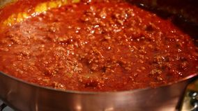 Italian food, bolognese meat sauce stock video