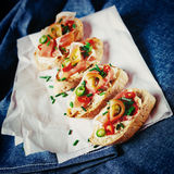 Italian food bruschetta. On rustic background. Instagram vintage effect. Selective focus Stock Photo