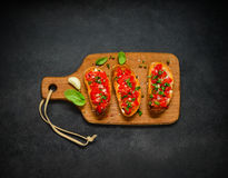 Italian Food Bruschetta with Tomato and Basil royalty free stock photo