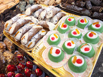 Italian food. Cannoli and cassata. Stock Images