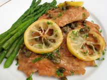 Italian Food-Chicken Piccata Stock Photos