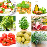 Italian food collage. Made from nine photographs Royalty Free Stock Photography