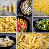 Italian food collage. With dried pasta and cooked pasta with sauces. Top view stock images