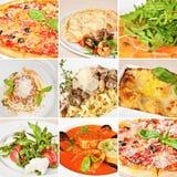 Italian food collage. Including pizza, seafood calzone, salmon carpaccio, spaghetti alla Bolognese, tagliatelle, lasagna Bolognese, caprese salad and tomato Royalty Free Stock Image