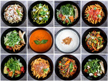 Italian food collage. With pasta, salads and soups. Top view Stock Image