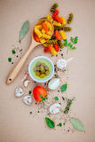 Italian food concept pasta with vegetables olive oil flavored wi Royalty Free Stock Photography