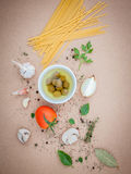 Italian food concept pasta with vegetables olive oil flavored wi Royalty Free Stock Images