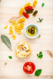 Italian food concept various kind of pasta with olive oil flavor Stock Photos