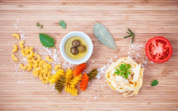 Italian food concept various kind of pasta with olive oil flavor Royalty Free Stock Images