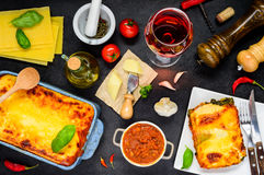 Italian Food Cooking Ingredients with Baked Lasagna stock images