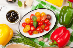 Italian food cooking ingredients. Vegetables, cheese, spices Royalty Free Stock Photo
