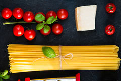 Italian food cooking pasta ingredients Stock Images