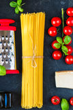 Italian food cooking pasta ingredients Royalty Free Stock Images