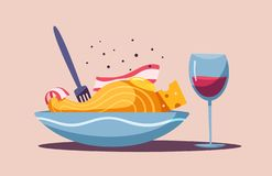 Italian food. Delicious pasta. Cartoon vector illustration. royalty free illustration