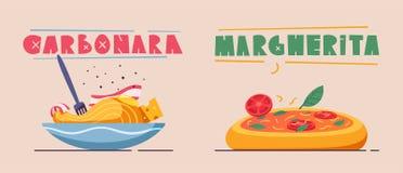 Italian food. Delicious pasta. Cartoon vector illustration. Italian cuisine. Delicious pasta. Cartoon vector illustration. Great dinner. For web and print vector illustration