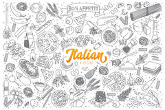 Italian food doodle set with orange lettering Royalty Free Stock Photos
