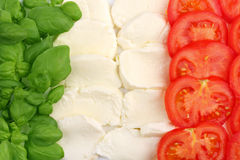 Italian food flag. Basilica leafs, mozzarella cheese and tomatoes forming the italian flag stock photo