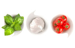 Italian food flag. Basil, garlic and tomatoes forming the italian flag royalty free stock images