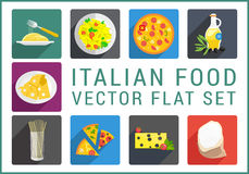Italian food flat vector icons Stock Photography